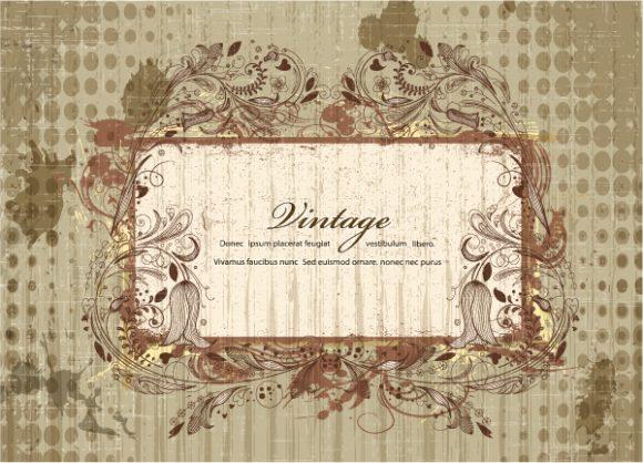Lovely Illustration Eps Vector: Grunge Floral Frame Eps Vector Illustration 5