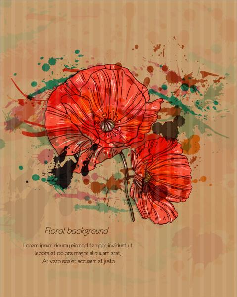 floral vector illustration Vector Illustrations old