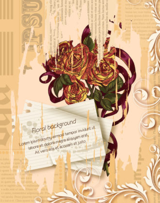 floral vector illustration with torn paper Vector Illustrations floral