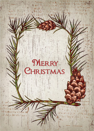 christmas vector illustration with christmas frame Vector Illustrations old