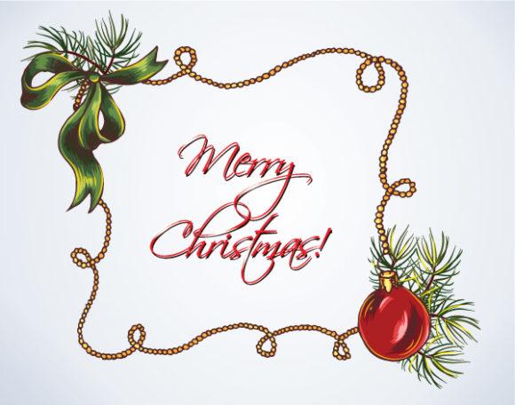 Christmas Vector Image: Christmas Vector Image Illustration  With Christmas Frame 5