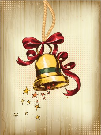 christmas vector illustration with bell and bow Vector Illustrations vector