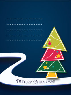 christmas vector illustration with doodle Christmas tree Vector Illustrations star