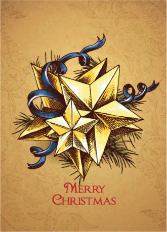 christmas vector illustration with star and bow Vector Illustrations star