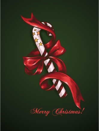christmas vector illustration with candy and bow Vector Illustrations vector