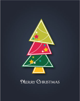 christmas vector illustration with Christmas tree Vector Illustrations star