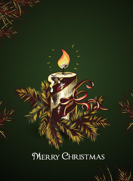 Candle, Fir Eps Vector Christmas Vector Illustration  Cle  Fir 1