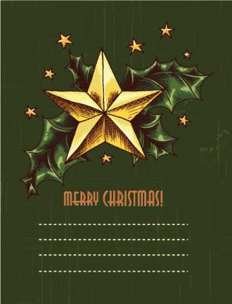 christmas vector illustration with star and holly berry Vector Illustrations star