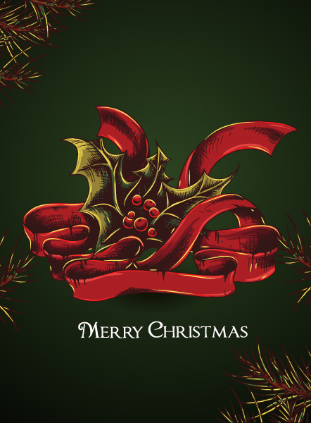 Berry Vector Graphic Christmas Vector Illustration  Bow  Holly Berry 5