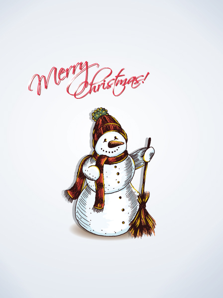 Insane Greeting Vector Image: Christmas Vector Image Illustration With Snow Man 2015 02 02 952