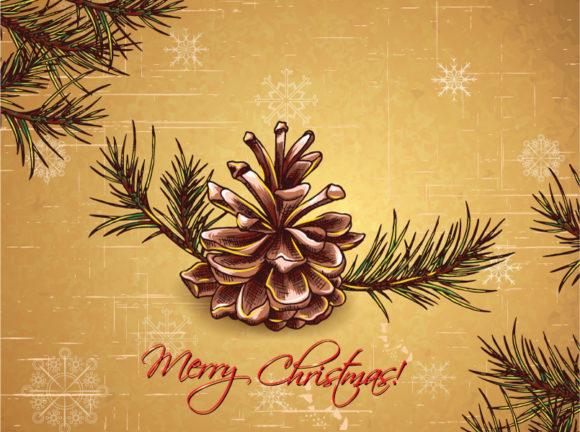 Season Vector Illustration Christmas Vector Illustration  Pine Cone 1