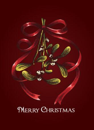 Christmas vector illustration with mistletoe Vector Illustrations vector