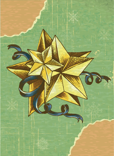 Christmas vector illustration with star and torn paper Vector Illustrations star