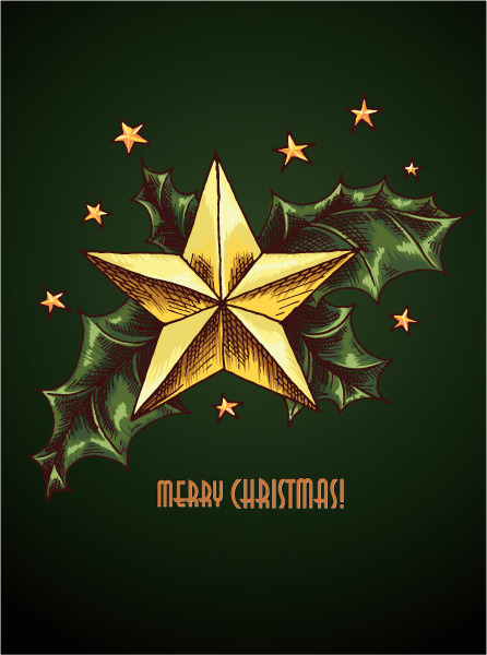 Brilliant Christmas Vector Artwork: Christmas Vector Artwork Illustration With Star And Holly Berry 1