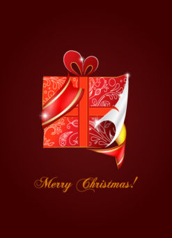 Christmas vector illustration with gift Vector Illustrations tree