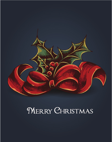 Christmas vector illustration with bow and holly berry Vector Illustrations vector