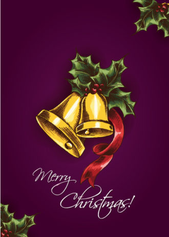 Christmas vector illustration with bells and holly berry Vector Illustrations vector