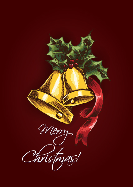 Buy Christmas Vector: Christmas Vector Illustration With Bells And Holly Berry 5