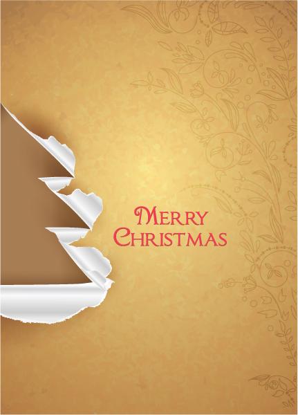 Illustration Vector Art: Christmas Vector Art Illustration With Christmas Tree And Torn Paper 1