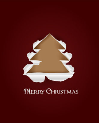 Christmas vector illustration with Christmas Tree and torn paper Vector Illustrations tree