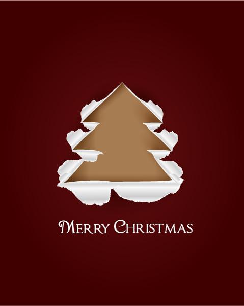 Christmas vector illustration with Christmas Tree and torn paper Vector Illustrations tree