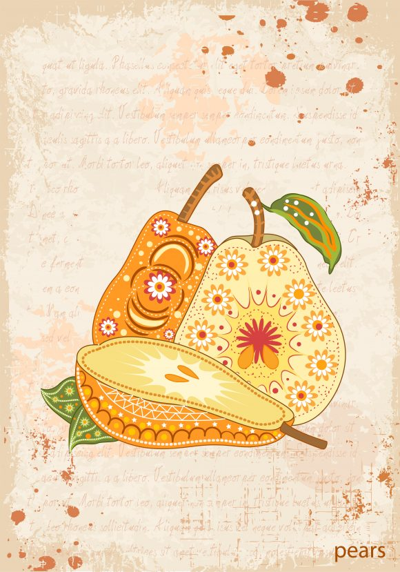 vector vintage background with pears 5