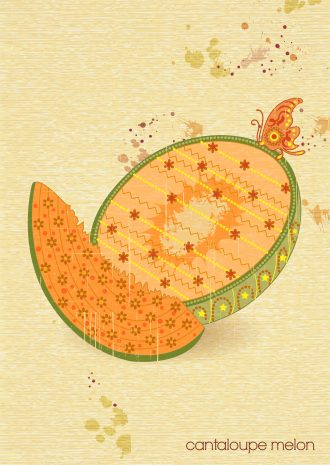 vector vintage background with cantaloupe melon Vector Illustrations old