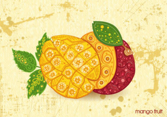 vector vintage background with mango Vector Illustrations old