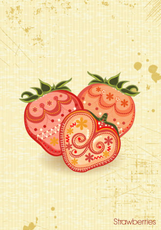 vector vintage background with strawberries Vector Illustrations old