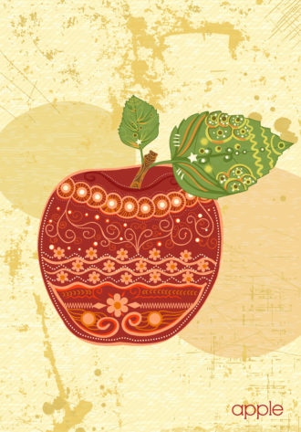 vector vintage background with apple Vector Illustrations old