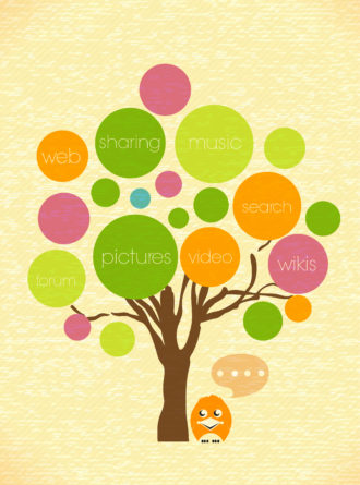vector social media illustration Vector Illustrations tree