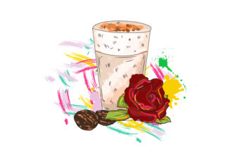 vector rose with colorful splashes Vector Illustrations glass
