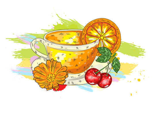 Fruits Vector: Vector Fruits With Colorful Splashes 1