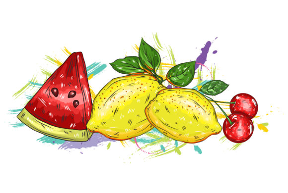 vector fruits with colorful splashes 2015 03 03 059