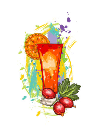 vector fruits with colorful splashes Vector Illustrations glass