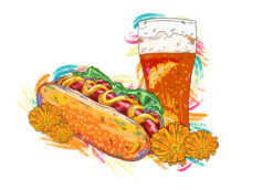 vector hot dog with colorful splashes Vector Illustrations glass