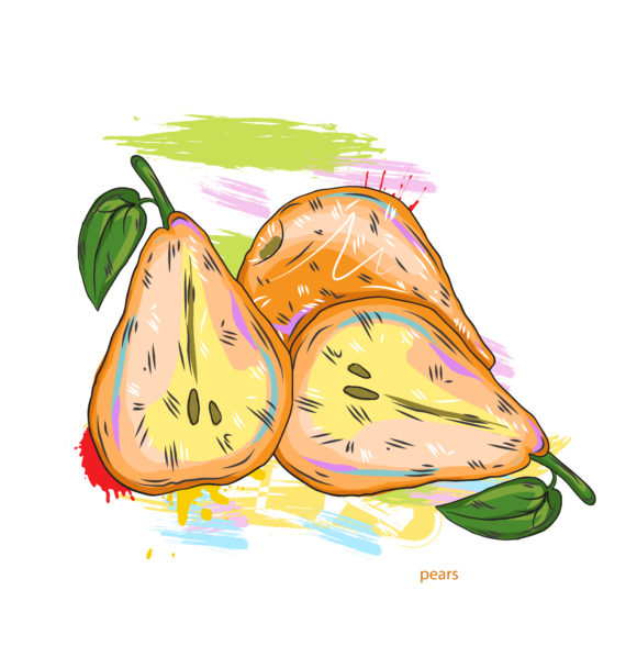 vector pears with colorful splashes 2015 03 03 075