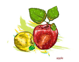 vector apples with colorful splashes Vector Illustrations old