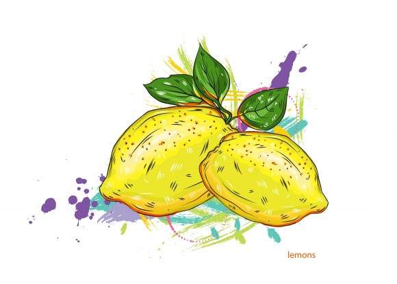 vector lemons with colorful splashes 2015 03 03 083