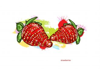 vector strawberries with colorful splashes Vector Illustrations old