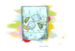 glass of vodka vector  illustration Vector Illustrations glass