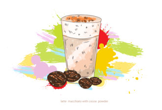 latte macchiato vector  illustration Vector Illustrations glass