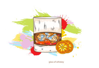 glass of whiskey vector  illustration Vector Illustrations glass