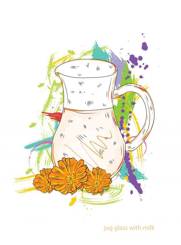 jug glass with milk vector  illustration Vector Illustrations vector