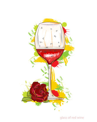 glass of red wine vector illustration Vector Illustrations glass