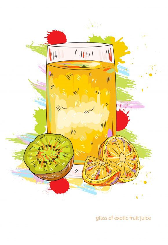 fruit juice vector  illustration Vector Illustrations glass