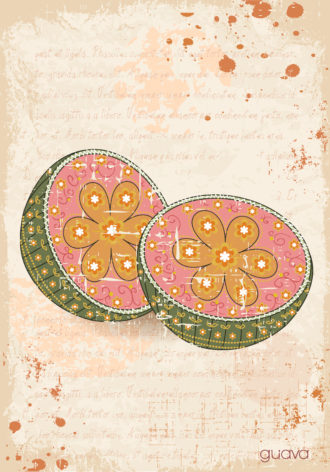 vector vintage background with guava Vector Illustrations old