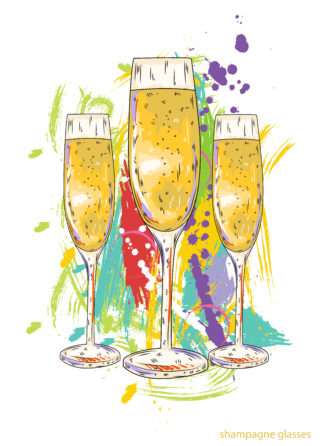 glasses of champagne vector  illustration Vector Illustrations glass