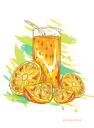 orange juice vector  illustration Vector Illustrations glass
