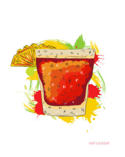 red cocktail vector  illustration Vector Illustrations cocktail